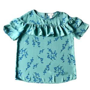 LOFT Floral Print Blouse with Ruffle Detail